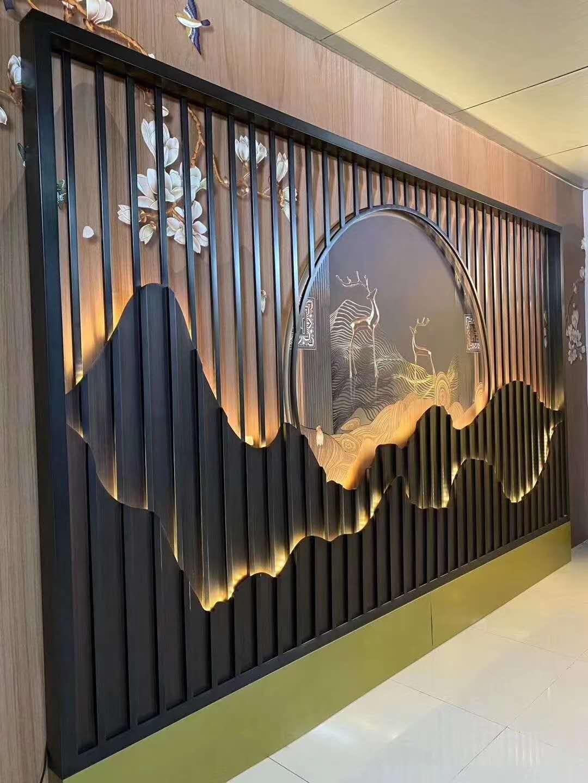 酒店商场黑钛亮光屏风大厅装饰不锈钢屏风厂家定制