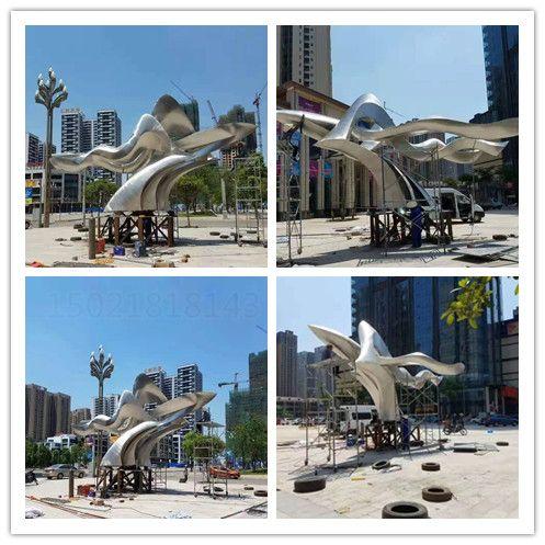 黑龙江城市景观抽象不锈钢鸟雕塑 拉丝效果飞鸟雕塑设计