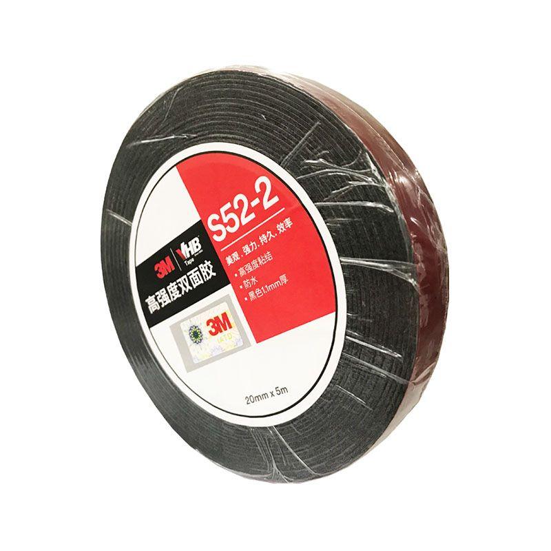 3M S52黑色耐高温户外泡棉双面胶 粘接汽车装饰铭牌相框胶带